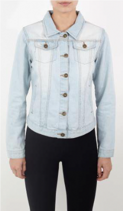 Ladies Bleach Wash Denim Jacket